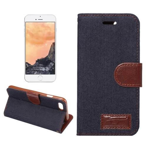 Buy For iPhone 8 & 7 Cowboy Cloth Texture Horizontal Flip Leather Case with Holder & Card Slots, Black for $2.41 in SUNSKY store