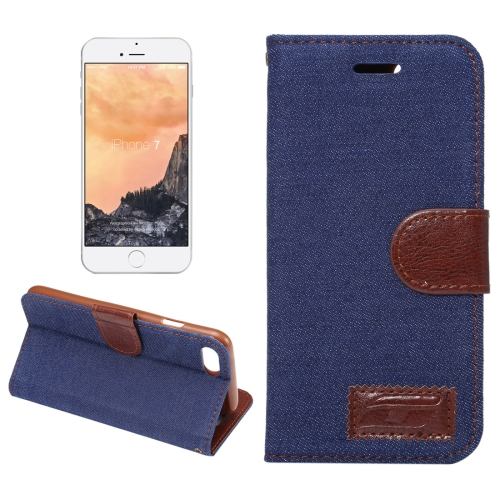 For iPhone 8 & 7 Cowboy Cloth Texture Horizontal Flip Leather Case with Holder & Card Slots (Dark Blue)