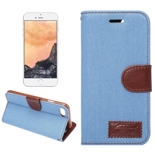 Buy For iPhone 8 & 7 Cowboy Cloth Texture Horizontal Flip Leather Case with Holder & Card Slots (Baby Blue) for $2.41 in SUNSKY store