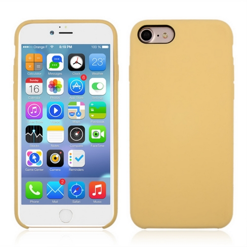 For iPhone 8 & 7 Pure Color Liquid Silicone + PC Shockproof Defender Case(Yellow)