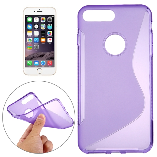 Buy For iPhone 8 Plus & 7 Plus S-Shaped Soft TPU Protective Cover Case, Purple for $1.19 in SUNSKY store