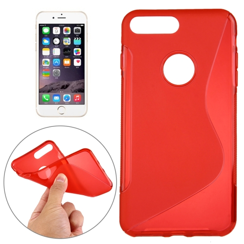 Buy For iPhone 8 Plus & 7 Plus S-Shaped Soft TPU Protective Cover Case, Red for $1.19 in SUNSKY store