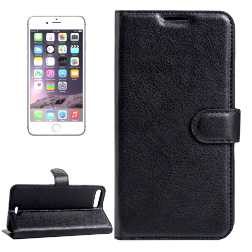 For iPhone 8 Plus & 7 Plus Litchi Texture Horizontal Flip Leather Case with Magnetic Buckle & Holder & Card Slots & Wallet(Black)