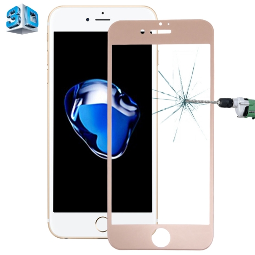 Buy For iPhone 7 Plus 0.26mm 9H Surface Hardness 3D Explosion-proof Colorized Silk-screen Tempered Glass Full Screen Film, Gold for $3.11 in SUNSKY store