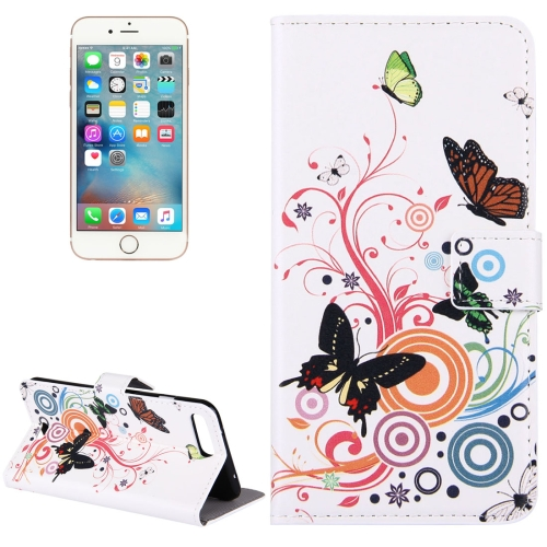 For iPhone 8 Plus & 7 Plus White Butterfly Pattern Leather Case with Holder & Card Slots & Wallet