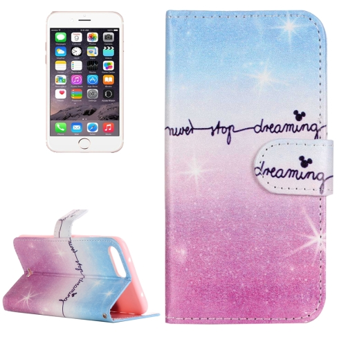 Buy For iPhone 8 Plus & 7 Plus Painting Pink and Blue Dream Sky Pattern Horizontal Flip Leather Case with Holder & Card Slots & Wallet for $2.13 in SUNSKY store