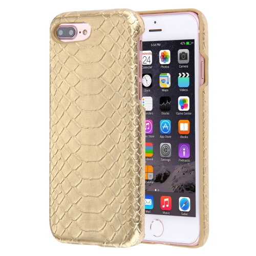For iPhone 8 Plus & 7 Plus Snakeskin Texture Paste Skin PC Protective Case, Gold