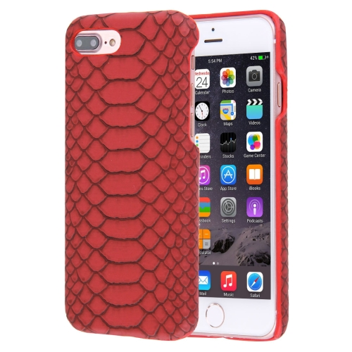 Buy For iPhone 8 Plus & 7 Plus Snakeskin Texture Paste Skin PC Protective Case, Red for $1.49 in SUNSKY store