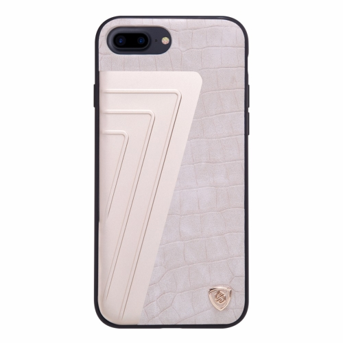 Buy NILLKIN Hybrid Case for iPhone 8 Plus & 7 Plus Retro Style Crocodile Texture Leather + Creative 7-shaped Metal Surface PC Protective Case Back Cover with Soft TPU Frame, White for $6.36 in SUNSKY store