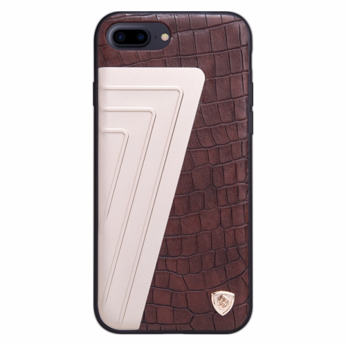 Buy NILLKIN Hybrid Case for iPhone 8 Plus & 7 Plus Retro Style Crocodile Texture Leather + Creative 7-shaped Metal Surface PC Protective Case Back Cover with Soft TPU Frame, Brown for $6.36 in SUNSKY store