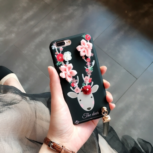 Buy For iPhone 8 Plus & 7 Plus 3D Flowers and Deer Pattern Soft TPU Back Cover Case with Lanyard, Black for $3.31 in SUNSKY store