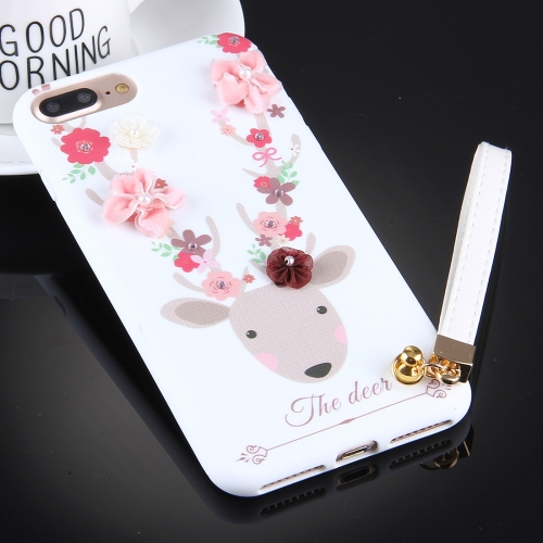 Buy For iPhone 8 Plus & 7 Plus 3D Flowers and Deer Pattern Soft TPU Back Cover Case with Lanyard, White for $3.31 in SUNSKY store