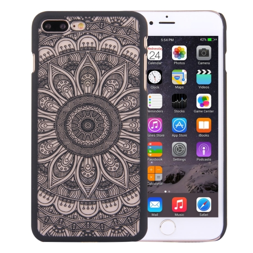 Buy For iPhone 8 Plus & 7 Plus Embossed Lotus Pattern Plastic Protective Back Cover Case, Black for $1.28 in SUNSKY store