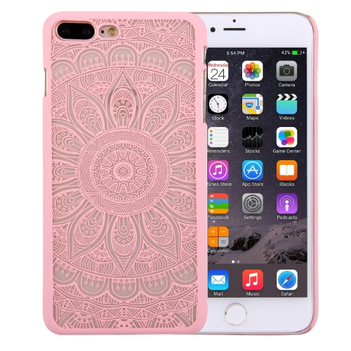 Buy For iPhone 8 Plus & 7 Plus Embossed Lotus Pattern Plastic Protective Back Cover Case, Pink for $1.28 in SUNSKY store