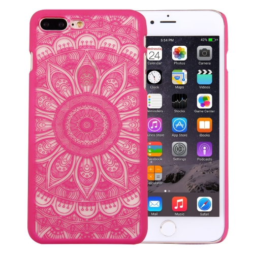 Buy For iPhone 8 Plus & 7 Plus Embossed Lotus Pattern Plastic Protective Back Cover Case, Magenta for $1.28 in SUNSKY store