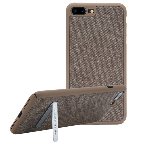 Buy Benks for iPhone 8 Plus & 7 Plus Business Style Magnetic PC Denim Protective Case Back Cover with Holder, Coffee for $7.05 in SUNSKY store