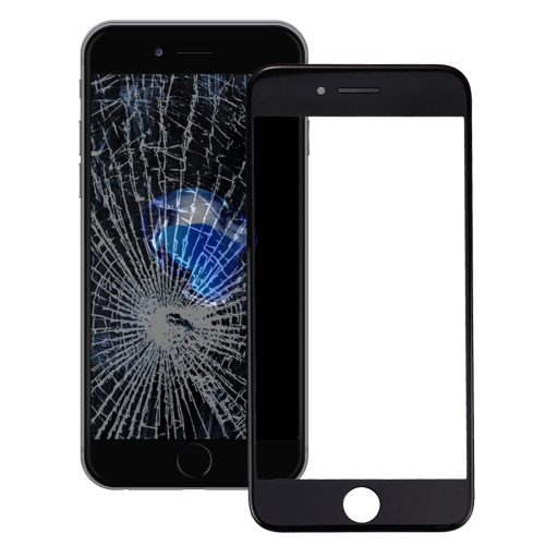 Front Screen Outer Glass Lens with Front LCD Screen Bezel Frame for iPhone 7 Plus (Black)
