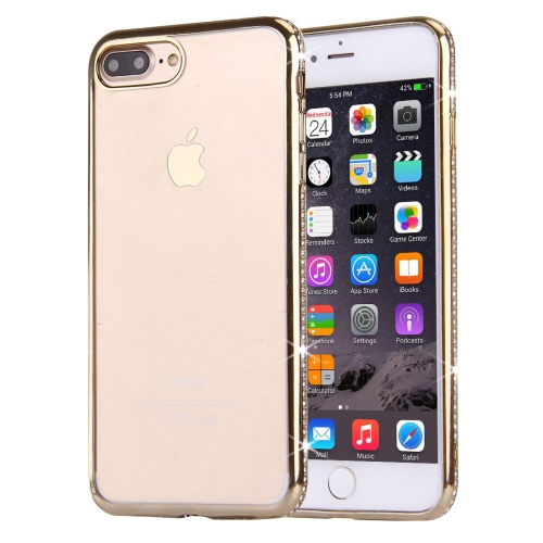 Buy For iPhone 8 Plus & 7 Plus Electroplating Diamond Encrusted Transparent Soft TPU Protective Cover Case, Gold for $1.56 in SUNSKY store
