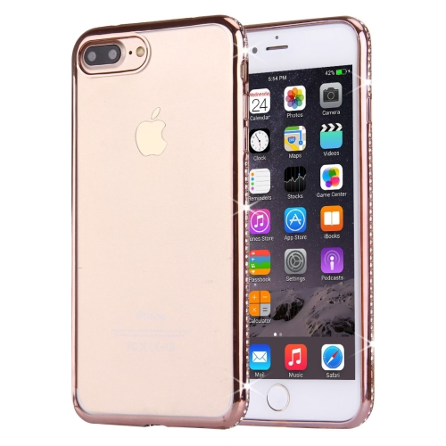 Buy For iPhone 8 Plus & 7 Plus Electroplating Diamond Encrusted Transparent Soft TPU Protective Cover Case (Rose Gold) for $1.56 in SUNSKY store