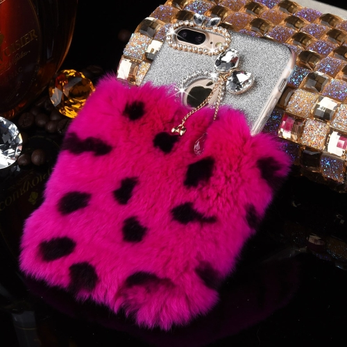 Buy For iPhone 8 Plus & 7 Plus Genuine Rabbit Hair Diamond Encrusted Flash Powder Soft TPU Protective Case (Magenta+Black) for $4.73 in SUNSKY store