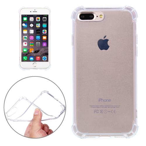 For iPhone 8 Plus & 7 Plus Shock-resistant Cushion TPU Protective Case (Transparent)