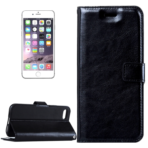 For iPhone 8 Plus & 7 Plus Crazy Horse Texture Horizontal Flip Leather Case with Magnetic Buckle & Holder & Card Slots & Wallet & Photo Frame(Black)