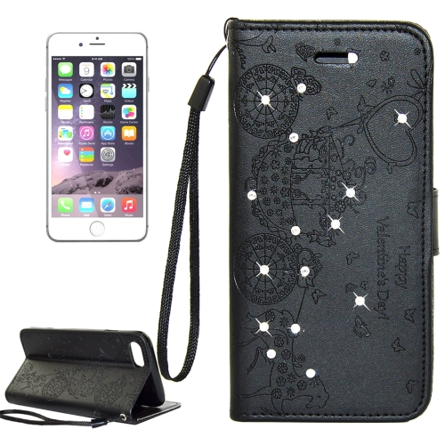 For iPhone 8 Plus & 7 Plus Pressed Flower Butterfly Carriage Pattern Diamond Encrusted Horizontal Flip Leather Case with Holder & Card Slots & Wallet & Photo Frame & Lanyard, Black