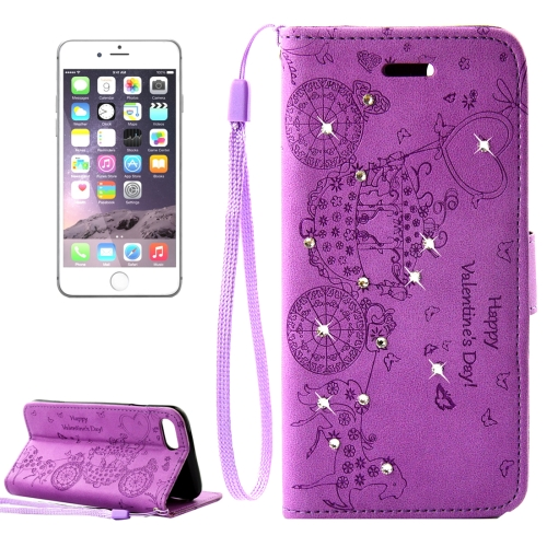 Buy For iPhone 8 Plus & 7 Plus Pressed Flower Butterfly Carriage Pattern Diamond Encrusted Horizontal Flip Leather Case with Holder & Card Slots & Wallet & Photo Frame & Lanyard, Purple for $2.45 in SUNSKY store