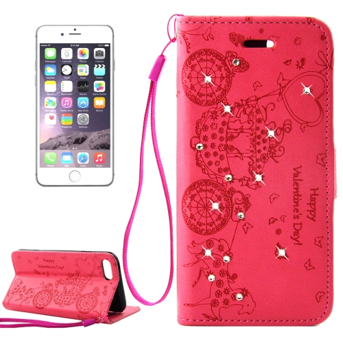 Buy For iPhone 8 Plus & 7 Plus Pressed Flower Butterfly Carriage Pattern Diamond Encrusted Horizontal Flip Leather Case with Holder & Card Slots & Wallet & Photo Frame & Lanyard, Red for $2.45 in SUNSKY store