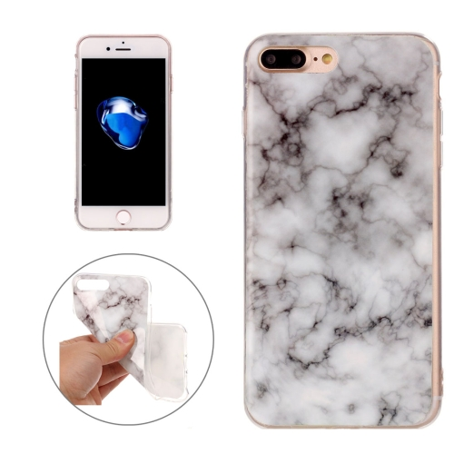 For iPhone 8 Plus & 7 Plus White Marble Pattern Soft TPU Protective Case