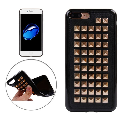 Buy For iPhone 8 Plus & 7 Plus Golden Quartet Nail Rivet Style Pattern TPU + Metal Soft Protective Back Cover Case for $3.72 in SUNSKY store