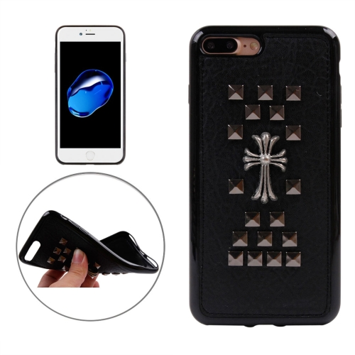 Buy For iPhone 8 Plus & 7 Plus Quartet Nail Chrome Hearts Rivet Style Pattern TPU + Metal Soft Protective Back Cover Case for $3.72 in SUNSKY store