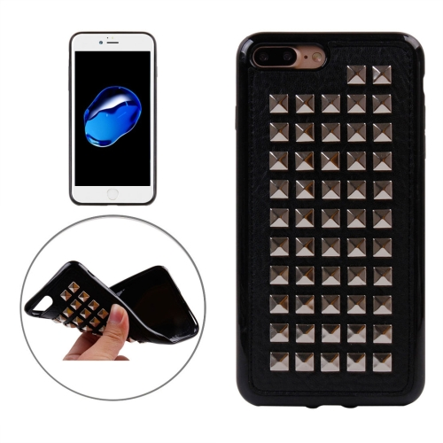 Buy For iPhone 8 Plus & 7 Plus Silver Quartet Nail Rivet Style Pattern TPU + Metal Soft Protective Back Cover Case for $3.72 in SUNSKY store