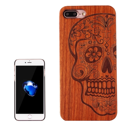 Buy For iPhone 8 Plus & 7 Plus Skull Pattern Carving Rosewood Wooden Protective Back Cover Case for $5.86 in SUNSKY store
