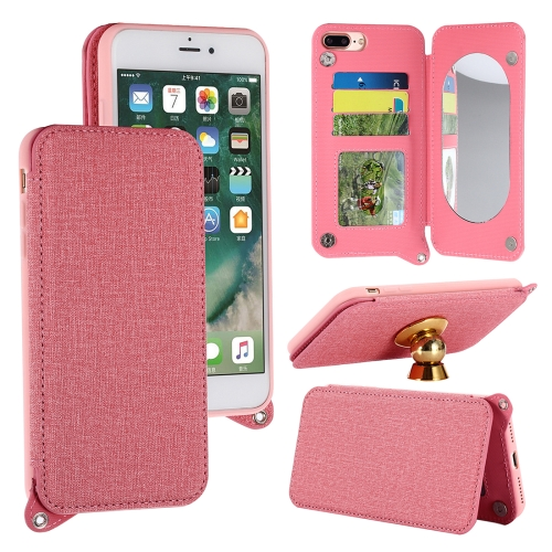 Buy For iPhone 8 Plus & 7 Plus Protective Back Case Cover with Card Slot & Photo Frame & Holder & Mirror, Pink for $3.69 in SUNSKY store