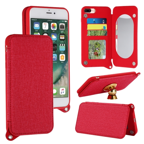 Buy For iPhone 8 Plus & 7 Plus Protective Back Case Cover with Card Slot & Photo Frame & Holder & Mirror, Red for $3.69 in SUNSKY store