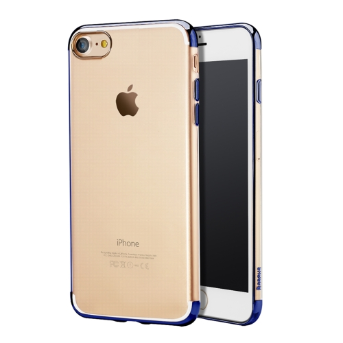 Buy Baseus for iPhone 8 & 7 Electroplating Soft Transparent TPU Protective Back Cover Case (Dark Blue) for $3.45 in SUNSKY store