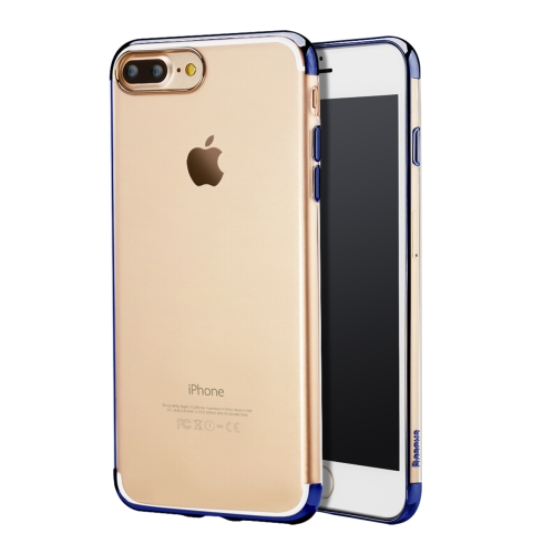 Baseus for iPhone 8 Plus & 7 Plus Electroplating Soft Transparent TPU Protective Back Cover Case (Dark Blue)