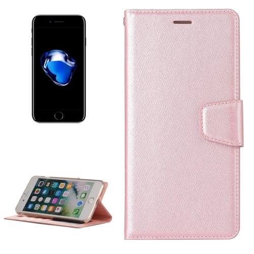 Buy For iPhone 8 Plus & 7 Plus Silk Texture Horizontal Flip Leather Case with Wallet & Holder & Card Slot & Photo Frame (Rose Gold) for $3.20 in SUNSKY store