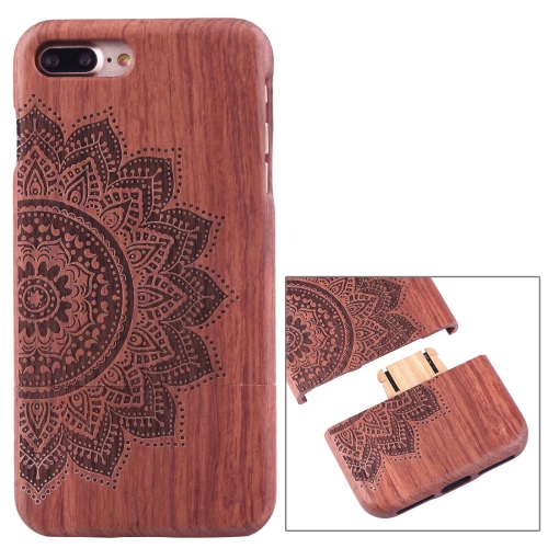 Buy For iPhone 7 Plus Separable Artistic Carving Half Flower Pattern Rosewood Protective Back Case Shell for $8.05 in SUNSKY store