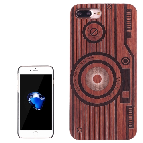 Buy For iPhone 8 Plus & 7 Plus Artistic Carving Retro Camera Pattern Rosewood + PC Bordure Protective Back Case Shell for $5.21 in SUNSKY store