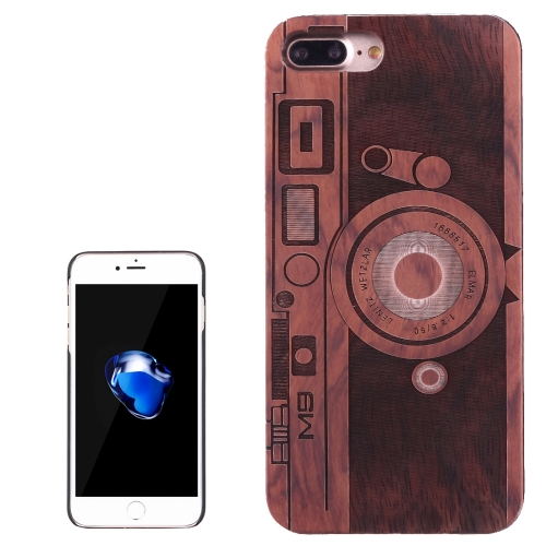 Buy For iPhone 8 Plus & 7 Plus Artistic Carving M9 Camera Pattern Rosewood + PC Bordure Protective Back Case Shell for $5.21 in SUNSKY store
