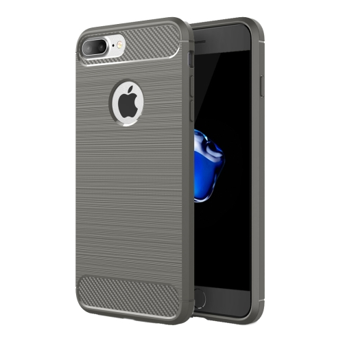 For iPhone 8 Plus & 7 Plus Brushed Texture Fiber TPU Rugged Armor Protective Case(Grey)