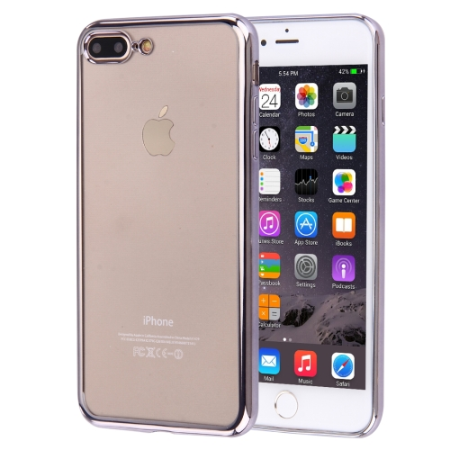 Buy For iPhone 8 Plus & 7 Plus Electroplating Transparent Soft TPU Protective Cover Case, Grey for $1.22 in SUNSKY store