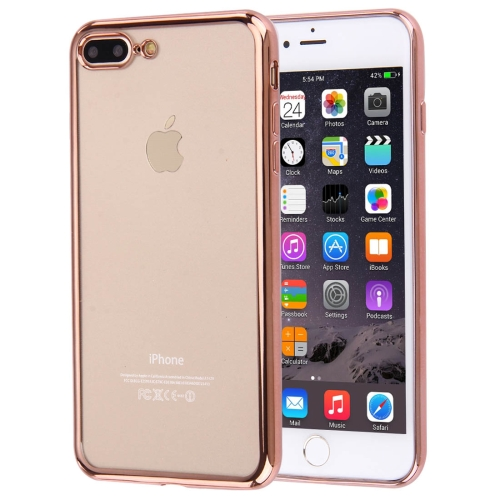For iPhone 8 Plus & 7 Plus   Electroplating Transparent Soft TPU Protective Cover Case(Rose Gold)