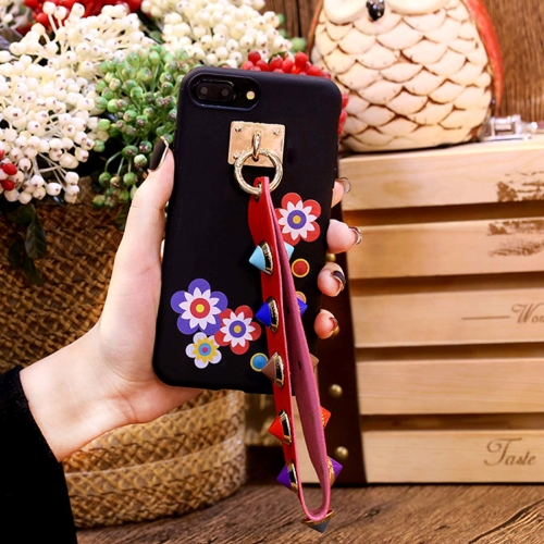 Buy For iPhone 8 Plus & 7 Plus Flower Pattern Soft TPU Protective Back Cover Case with Rivet Lanyard, Black for $3.54 in SUNSKY store
