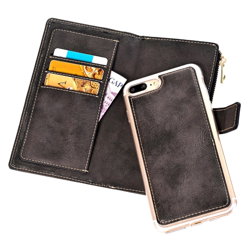 Buy For iPhone 8 Plus & 7 Plus Retro Style Crazy Horse Texture Horizontal Flip Leather Case with Separable Back Cover & Zip Fastener & Card Slot & Wallet & Magnetic Buckle, Black for $6.84 in SUNSKY store