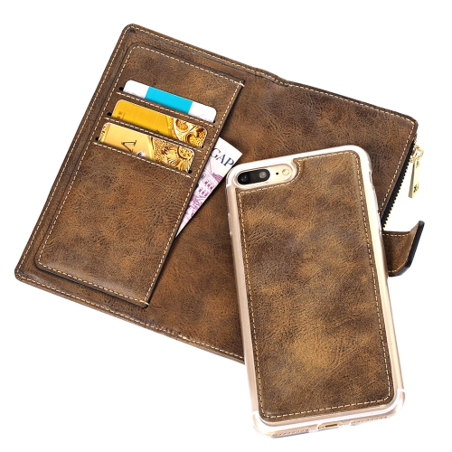 Buy For iPhone 8 Plus & 7 Plus Retro Style Crazy Horse Texture Horizontal Flip Leather Case with Separable Back Cover & Zip Fastener & Card Slot & Wallet & Magnetic Buckle, Coffee for $6.84 in SUNSKY store