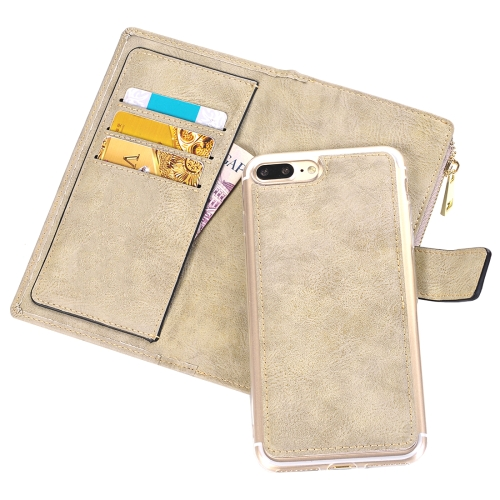 Buy For iPhone 8 Plus & 7 Plus Retro Style Crazy Horse Texture Horizontal Flip Leather Case with Separable Back Cover & Zip Fastener & Card Slot & Wallet & Magnetic Buckle, White for $6.84 in SUNSKY store
