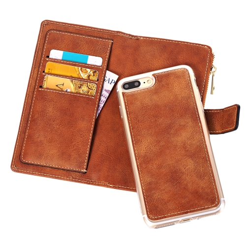 Buy For iPhone 8 Plus & 7 Plus Retro Style Crazy Horse Texture Horizontal Flip Leather Case with Separable Back Cover & Zip Fastener & Card Slot & Wallet & Magnetic Buckle, Brown for $6.84 in SUNSKY store